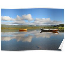 Wooden boats on the mountain lake Poster