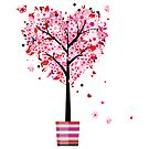 Floral Heart Tree by SandraWidner