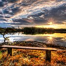 Bench in the sunset by Stefan Johansson