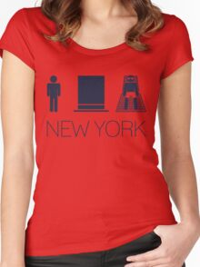 Man hat tan Tee - New York Yankee Blue Lettering Women's Fitted Scoop T-Shirt