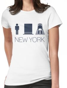 Man hat tan Tee - New York Yankee Blue Lettering Womens Fitted T-Shirt