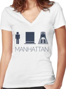 Man hat tan Tee -  Yankee Blue Lettering Women's Fitted V-Neck T-Shirt