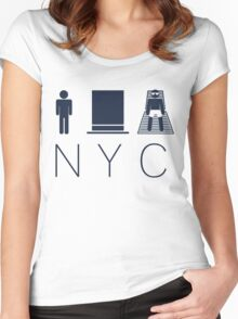 Man hat tan Tee - NYC - Yankee Blue Lettering Women's Fitted Scoop T-Shirt