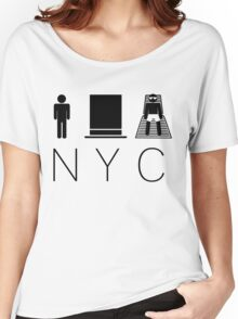 Man hat tan Tee - NYC - Black Lettering Women's Relaxed Fit T-Shirt