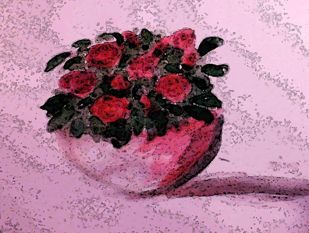 Red roses for your Day, watercolor by Anna  Lewis, blind artist