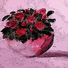 Red roses for your Day, watercolor by Anna  Lewis