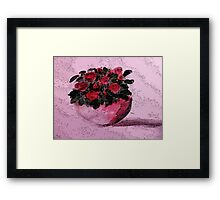 Red roses for your Day, watercolor Framed Print