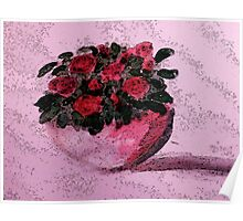 Red roses for your Day, watercolor Poster
