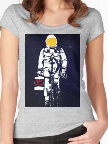 Badass Astronaut - Yellow Visor Women's Fitted Scoop T-Shirt