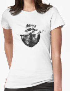 Hanging Raccoon Womens Fitted T-Shirt
