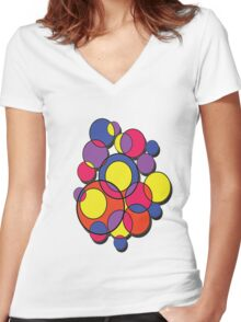 Circles of colour! Women's Fitted V-Neck T-Shirt