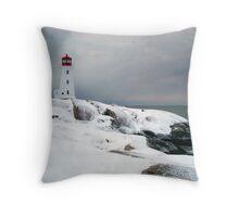 Peggys Cove Lighthouse in the Snow - Nova Scotia Canada Throw Pillow