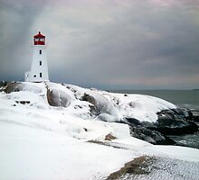 Peggys Cove Lighthouse in the Snow - Nova Scotia Canada by Shawna Mac