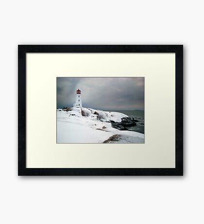Peggys Cove Lighthouse in the Snow - Nova Scotia Canada Framed Print