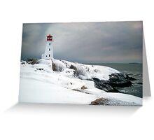 Peggys Cove Lighthouse in the Snow - Nova Scotia Canada Greeting Card