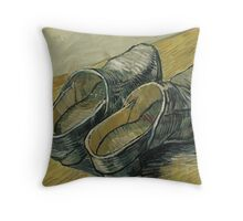 Vincent van Gogh - A pair of leather clogs Throw Pillow