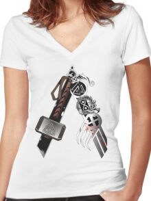 Asgardian Pride (Blood) Women's Fitted V-Neck T-Shirt