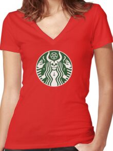 The satan-buck Women's Fitted V-Neck T-Shirt
