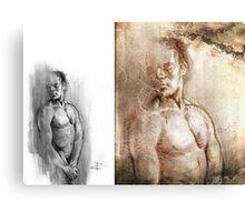 Resting - Conté Drawing COMPILATION Canvas Print