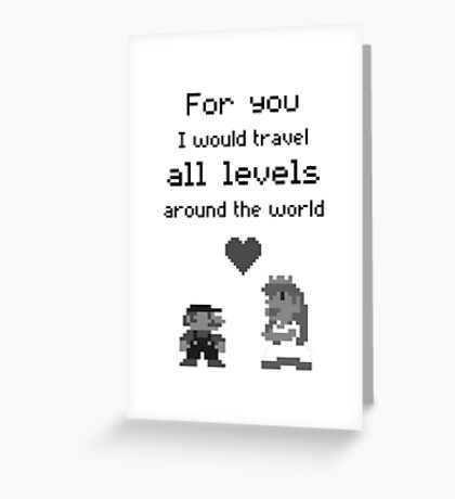 Mario and Peach love Greeting Card