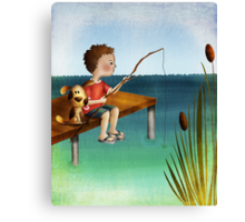 Fishing with a friend Canvas Print