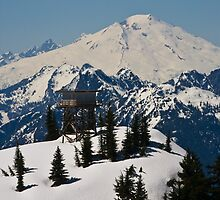 Lookout Mountain, Lookout Tower with Mt. Baker  by lizalady