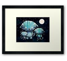 Lucky, Lola and Luna, Full Moon Cats Framed Print