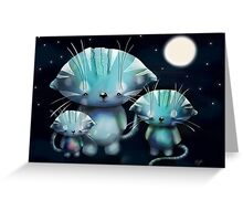 Lucky, Lola and Luna, Full Moon Cats Greeting Card