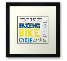 Cycling text graphic Framed Print