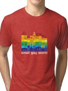 Small Gay World - Dark Background Tri-blend T-Shirt