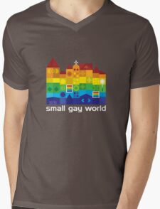 Small Gay World - Dark Background Mens V-Neck T-Shirt