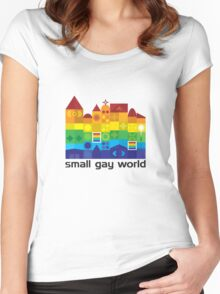 Small Gay World - Light Background Women's Fitted Scoop T-Shirt