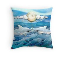 baby dolphins Throw Pillow