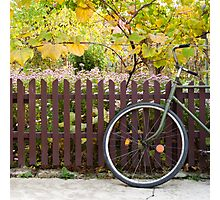 bicycle and fence, circle and square Photographic Print