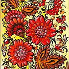 Folk art red flowers by Ekaterina Chernova