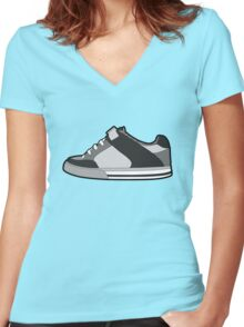 Black & White Sneaker Women's Fitted V-Neck T-Shirt