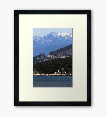Lighthouse Next to An Old Growth Forest Framed Print