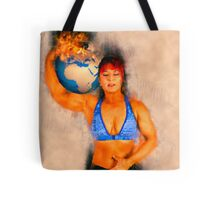 Female Atlas holds the burning earth on her shoulder  Tote Bag