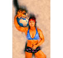 Female Atlas holds the burning earth on her shoulder  Photographic Print