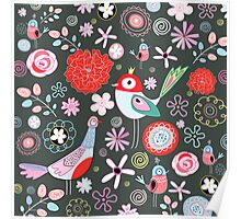 floral pattern with birds Poster