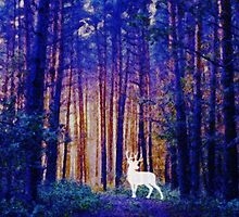 Harry's Patronus - White Stag in a Magical Forest by frogcreek