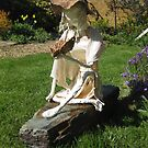 Farrah - Girl with Butterfly Fabric Garden Sculpture by ComfyFrog