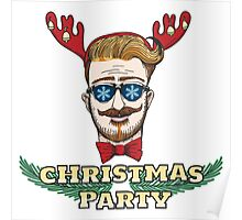 Hipster Christmas Party Design Poster