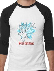 Merry Christmas Reindeer Men's Baseball ¾ T-Shirt