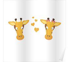 Giraffes in love Poster