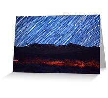 Amazing Star Trails Over Death Valley Desert Mountain Greeting Card
