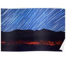 Amazing Star Trails Over Death Valley Desert Mountain Poster