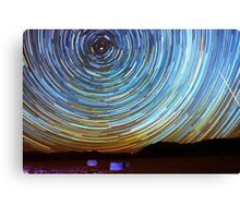 Star Trails over Racetrack Playa Stones of Death Valley Canvas Print