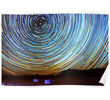 Star Trails over Racetrack Playa Stones of Death Valley Poster