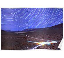 Space Star Trails over Moonlit Death Valley Desert Poster